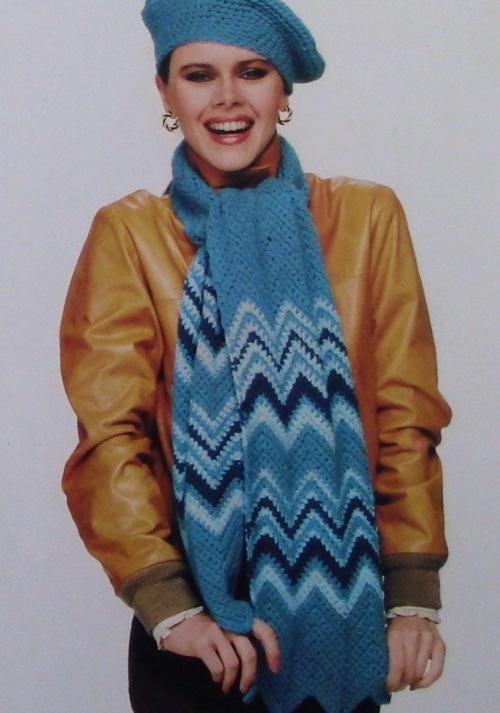 Striped Ripple Scarf Hat Easy Crochet Pattern Vintage