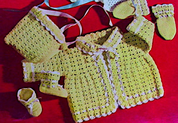 Crochet Baby Cap Cardi, Booties Mittens Baby Yarn Pattern