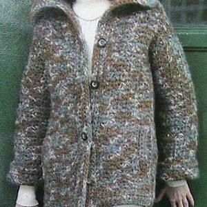 Crochet Women's Coat Super Bulky Yarn Easy Pattern Vintage