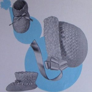 Crochet Hat and Booties 6 Months Pattern Vintage 1950s