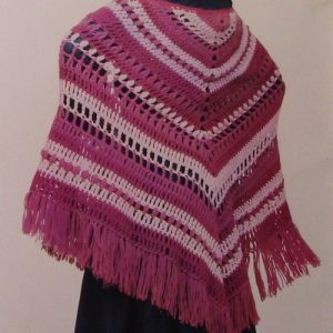 Striped Shawl Triangle Vintage Crochet Pattern Medium Weight Yarn 6.5 mm Hook