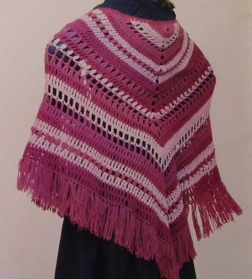 Striped Shawl Triangle Vintage Crochet Pattern Medium Weight Yarn 6.5 mm Hook