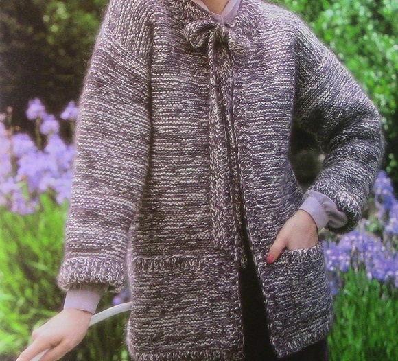 Knit Garter Stitch Cardigan - Easy Pattern Beginner - Long Sleeves No Buttons