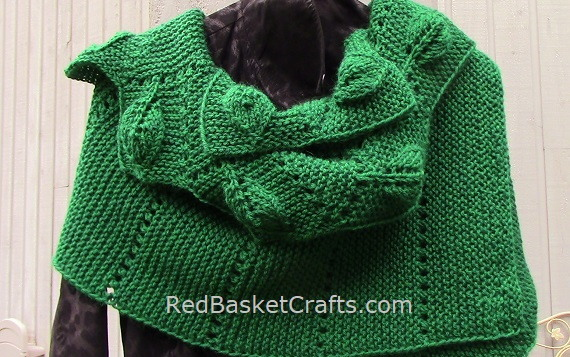 Wide Scarf Leaf Knitted - Intermediate Pattern - Worsted Wool