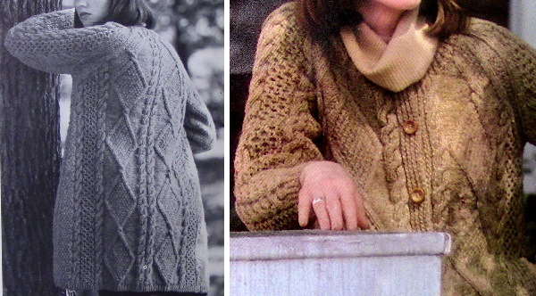Knit Long Cable Honeycomb Cardigan Collar Long Sleeve Buttons Vintage Pattern