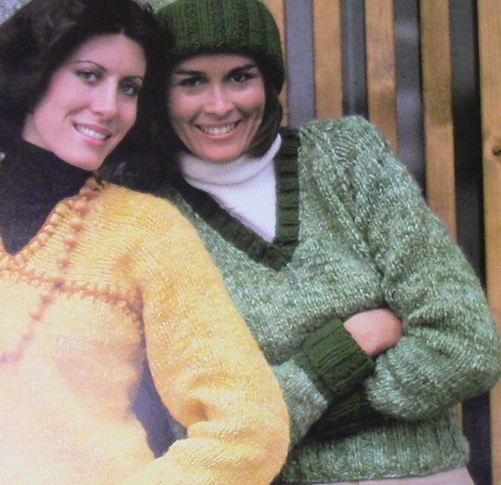 Hat V Neck Sweater Stockinette Vintage Knitting Pattern Intermediate