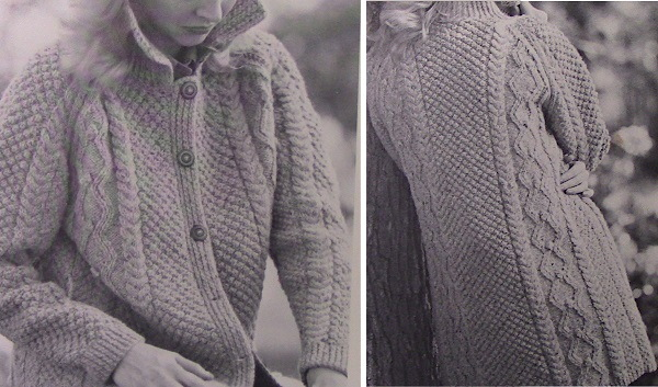 Knitted Cable Buttoned Cardigan Vintage Pattern