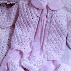 Baby Layette - Sweater, Blanket, Bonnet, Booties - Knitting Pattern