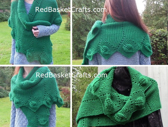 Leaf Scarf Knitted Worsted Medium Weight Yarn Knitting Pattern