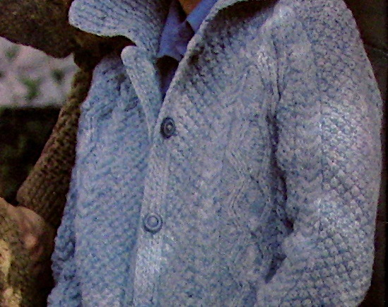 Knit Long Cable Seed Cardigan Collar Long Sleeve Buttons Vintage Pattern