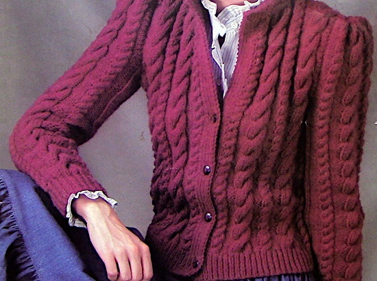 Cabled Cardigan - 1980s Vintage Knitting Pattern