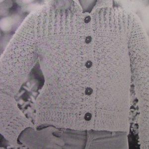 Crochet Cardigan - Vintage Pattern Size S, M, L