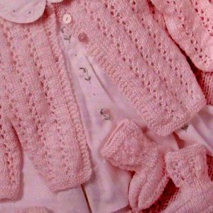 4-Piece Baby Suit (sweater, booties, cap, blanket)- Knitting Pattern