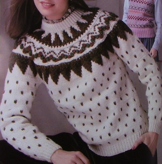 Bottom-up Raglan Sweater Fair Isle - Vintage Knitting Pattern