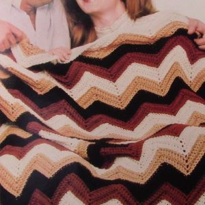 Striped Ripple Afghan Crochet Pattern Easy Worsted 4 ply yarn