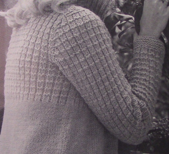 Textured Cardigan with Yoke Buttons 1980s Knitting Pattern