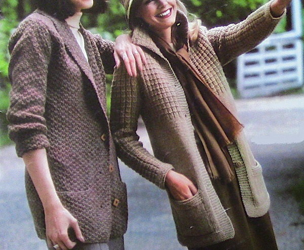 Textured Cardigans 1980s Vintage Knitting Patterns Long Sleeves Buttons Pockets