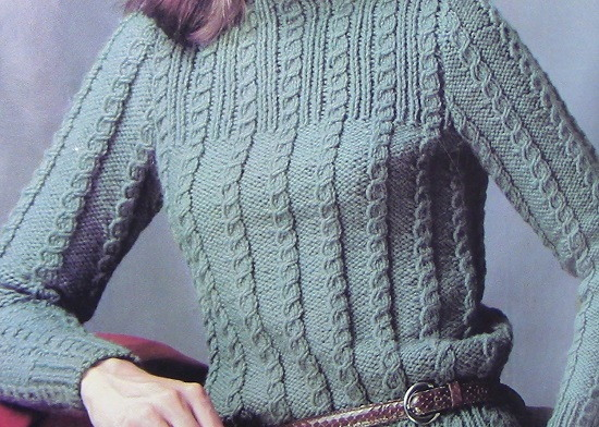 Turtleneck Long-Sleeved Sweater in Cable Stitch Vintage Knitting Pattern