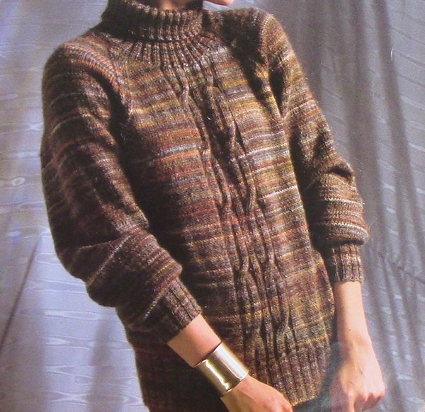 Turtleneck Pullover Raglan Cable Vintage Knitting Pattern