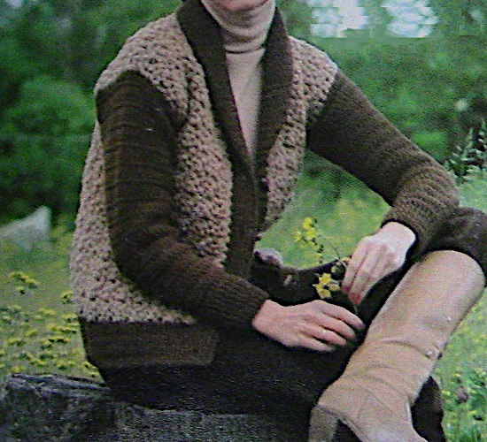 Two-Color Cardigan Crochet Pattern Contrasting Colors Chunky Yarn