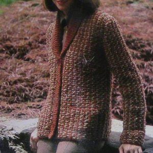 Two Color Cardigan Knitting Pattern Collar Pockets Buttons