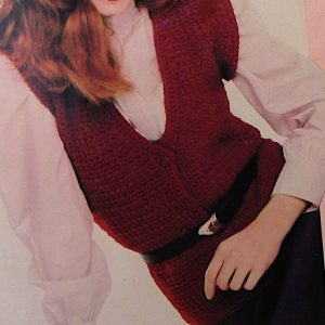 V Neck Vest Crochet Pattern Vintage Buttons Short Sleeves Worsted Yarn