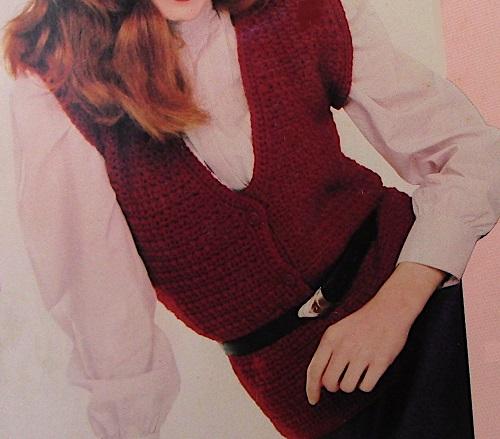 V Neck Vest Crochet Pattern Vintage Buttons Short Sleeves Worsted Yarn