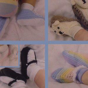 Baby Booties Easy Crochet Booklet 8 Styles 2 Ply Yarn