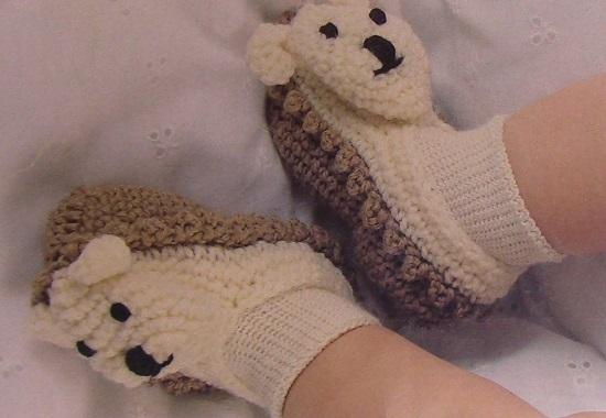 Baby Bear Booties 6 Months Crochet Pattern Vintage Sock Yarn