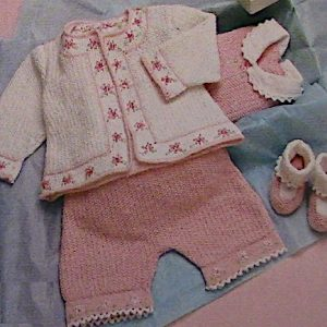 Baby Yarn Set Knitting Pattern Shorts Cardigan Bootie