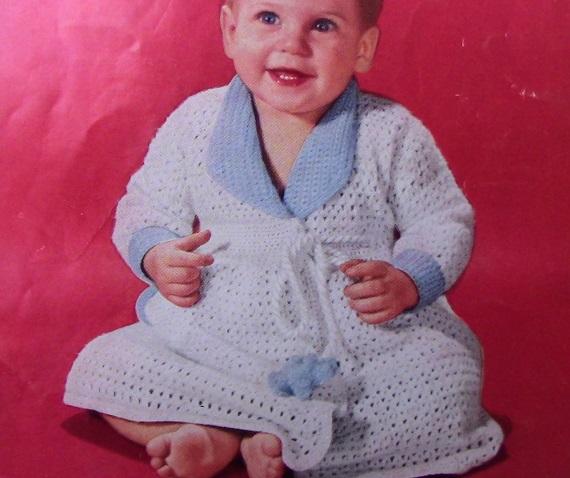 Baby Robe Fingering Yarn Lace Stitch Vintage Crochet Pattern