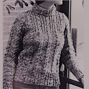 Cable Stitch Turtleneck Sweater Chunky Yarn Knitting Pattern Vintage 1970s