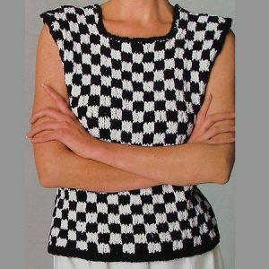Check Vest Knitting Pattern Worsted Yarn Intermediate