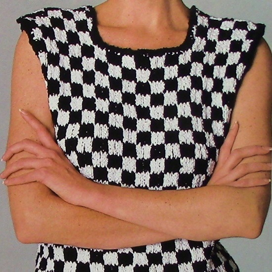 Checked Top Knitting Pattern - Sizes S, M, L - Worsted Yarn