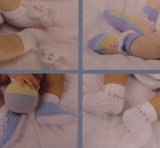 Crochet Baby Booties Size New born to 6 Months - 8 Patterns Sport Yarn