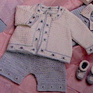 Baby Layette Crochet Pattern Pants Top Cardigan Booties Baby Yarn