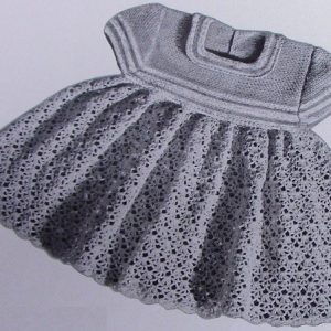 Toddler Girl Dress Size 1 and 2 Vintage Pattern Fingering Yarn Lace Stitch