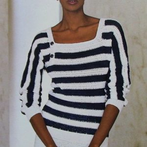 Pullover Striped Square Neck Crochet Pattern 3 Ply Yarn