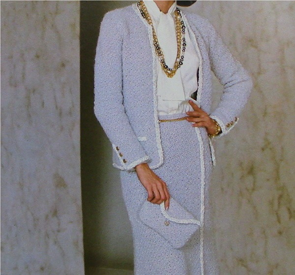 Women's Suit: Crochet Buttonless Jacket and Skirt Vintage Pattern