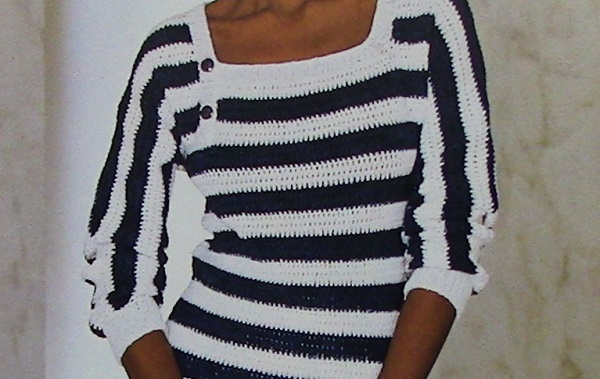 Crocheted Striped Square Neck Pullover Crochet Pattern 3 Ply Yarn