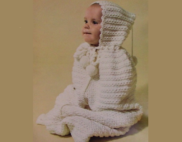 Hooded Bunting Knitting Pattern Infant Sport Yarn for 2 Strand Knit or Worsted Yarn