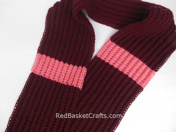 Knit Reversible Scarf Seed Rib Stitch Intermediate Pattern