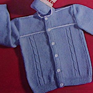 Knitted Toddlers Cardigan Cap Vintage Pattern Cable Stitch
