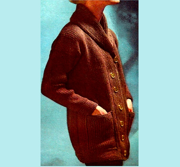 Knitted Jacket Pattern Worsted Yarn Size S, M, L