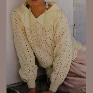 Lace Pullover Knitting Pattern Long Sleeves Collar Sport Yarn
