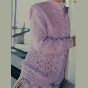 Lace Leaf Motif Cardigan Knitting Pattern DK Yarn