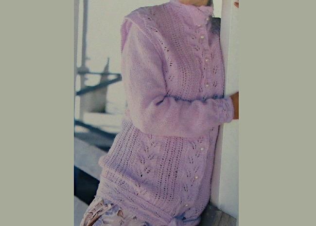 Lace Leaf Motif Cardigan Knitting Pattern DK Yarn