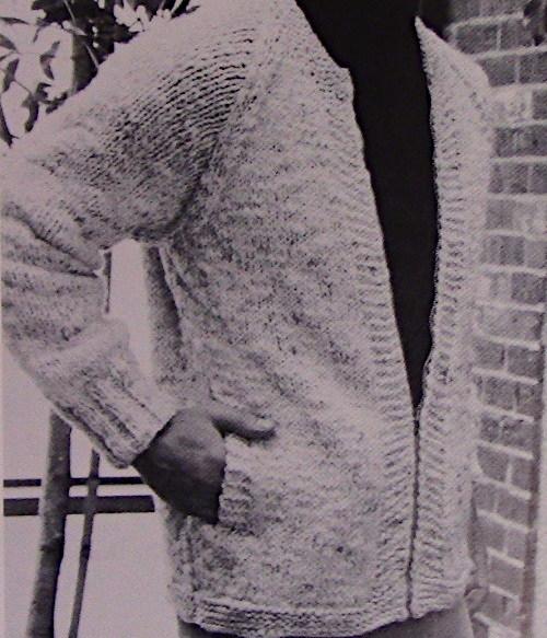 Men's Cardigan Intermediate Level Stockinette Size S, M, L Knitting Pattern