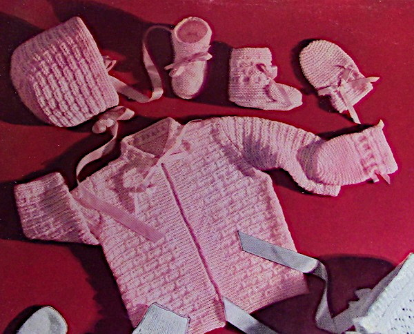 Baby Cardigan Booties Hat Mittens Fingering Yarn Knitting Pattern