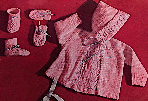 Hooded Sweater Mittens Booties Baby Knitting Pattern Fingering Yarn